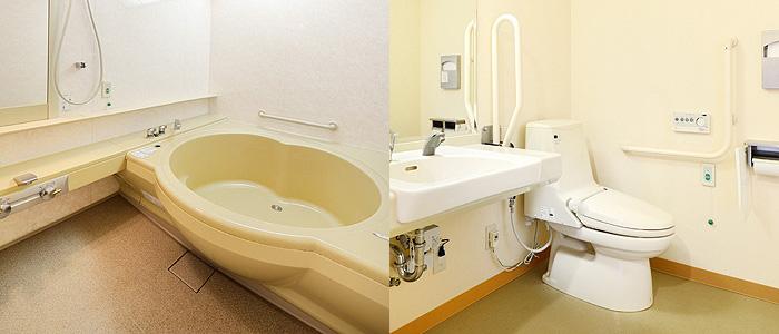 ホテルウェルネス能登路の客室バリアフリールームのバス・トイレ